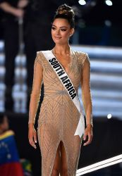 LAS VEGAS, NV - NOVEMBER 26: Miss South Africa 2017 Demi-Leigh Nel-Peters is named a top 3 finalist during the 2017 Miss Universe Pageant at The Axis at Planet Hollywood Resort & Casino on November 26, 2017 in Las Vegas, Nevada. (Photo by Frazer Harrison/Getty Images)