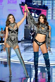 SHANGHAI, CHINA - NOVEMBER 20: Models Alessandra Ambrosio and Lily Aldridge walk the runway during the 2017 Victoria's Secret Fashion Show In Shanghai at Mercedes-Benz Arena on November 20, 2017 in Shanghai, China. (Photo by Frazer Harrison/Getty Images for Victoria's Secret)